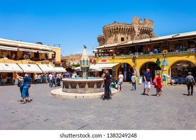 RHODES, GREECE - MAY 11, 2018: Hippocrates fountain at the Rhodes old town main square in Rhodes island in Greece