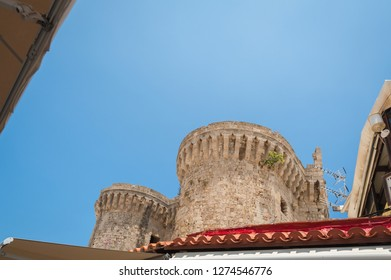 Rhodes. Greece. May 30, 2018. Towers of The Palace of the Grand Master of The Knights of Rhodes. Rhodes, Old Town, Island of Rhodes, Greece, Europe.