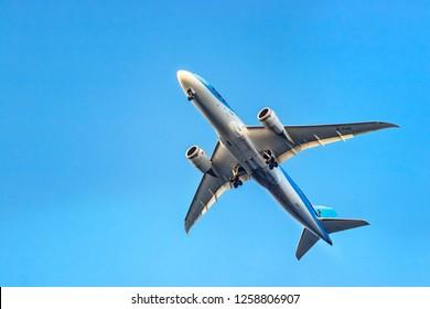 Rhodes, Greece - October 10th, 2018: A TUI Airways Boeing 787-8 Dreamliner taking off below view at Rhodes, Greece.