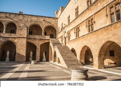 Rhodes, Greece - September 04, 2017: Palace of the Great Masters, inner courtyard, Old Town, Rhodes