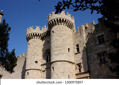 Rhodes, Greece: - September 7th 2018: Palace of the Grand Master of the Knights of Rhodes