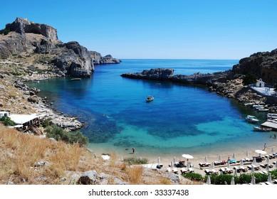 Rhodes in Greece, St. Paul Bay near Lindos