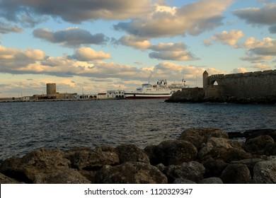 Rhodes Greece-December 30 2016:Sunset in the marina