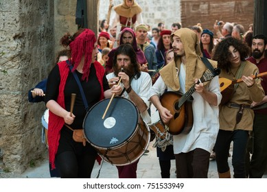 Rhodes, Greece-May 26,2017: Masked players at the Medieval Rose Festival. The festival is held in the old town, it is very interesting and very visited event of the tourists