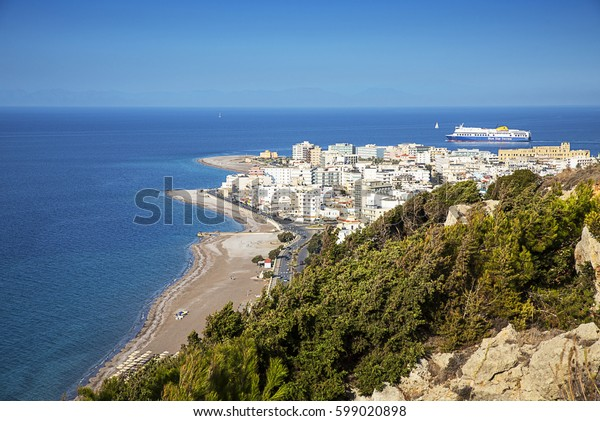 Rhodes, Greece-October 28,2016.Panorama of the city of Rhodes. Rhodes Town is located on the island of Rhodes in Greece, a very popular location for tourists from all over the world