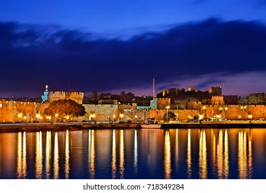 RHODES ISLAND, GREECE. The seaside walls of the Medieval town of Rhodes (World Heritage site by UNESCO) , at Sahtouri coast, Rhodes island, Dodecanese, Greece