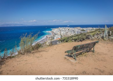 Rhodes island, Greece with a view of a wonderful blue beach paradise coast