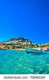 Rhodes. Lindos. Boat