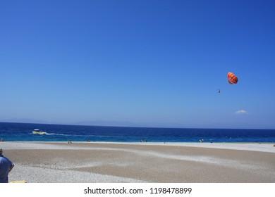 Rhodes: sept 2, 2018 - Rhodes island town Elli beach a popular summer tourist destination, Dodecanese, Aegean, Greece