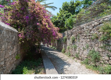 Rhodes town, Greece. May 30, 2018. Residential alley and dwellings in old town. Rhodes, Old Town, Island of Rhodes, Greece, Europe.