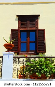 Rhodes Town, Rhodes/Greece - June 14 2018: Close up on traditional Old Town house on Rhodes