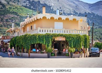 RHODES/GREECE - August 25, 2017: Beautiful traditional greek tavern in Embonas village, Rhodes.