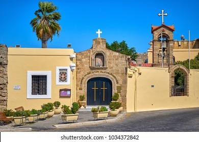 RHODES/GREECE - August 27, 2017: Church of Agios Panteleimon (St. Panteleimon) in Rhodes, Greece