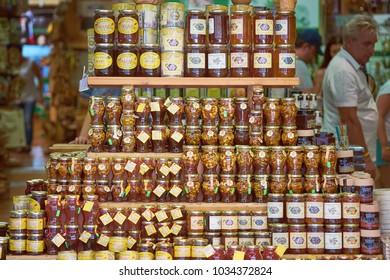 RHODES/GREECE - August 27, 2017: Traditional greek honey at the market showcase