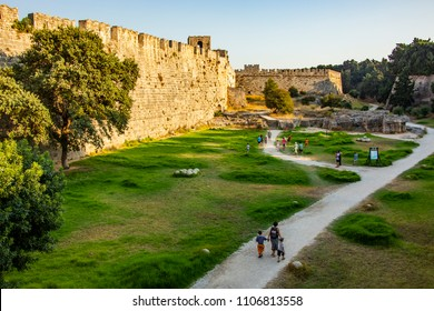 rhodes,greece-july 27,2015.rhodes castle and people who visited rhodes castle,greece