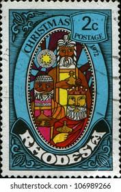 RHODESIA - CIRCA 1972: A greeting Christmas stamp printed in Rhodesia shows three kings, circa 1972