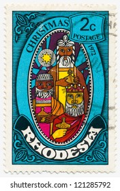 RHODESIA - CIRCA 1972: A stamp printed in Rhodesia, shows a Picture of the worship of the Magi at Christmas, circa 1972