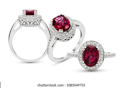 Rhodolite and Diamond Rings in White Gold on white isolate