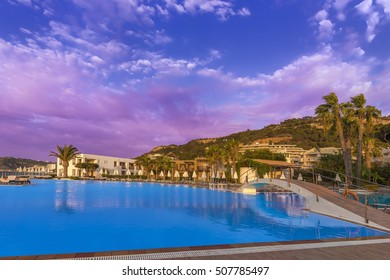 Rhodos, Greece - August 2016: Beautiful sunset over a beach resort in the Ixia gulf, on the western coast of the Rhodos island, near the Rhodos city