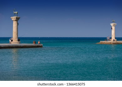 Rhodos, Greece - August 2016: Hirschkuh statue in the place of the Colossus of Rhodes at the entrance from inner embankment in the Mandraki old harbour of the City of Rhodes, in the Greek Dodecanese