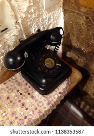 Rhodos, Greece - July 15, 2018: old-fashioned telephone