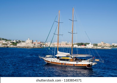 RHODOS, GREECE - SEPTEMBER 2015: Sailing ship nearby Rhodos harbour