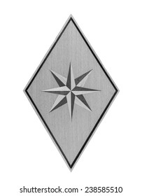 A rhombus and  Wood Eight-pointed star in monochrome isolated over white background