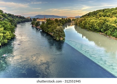 Rhone and Arve river confluence by sunset, Geneva, Switzerland, HDR