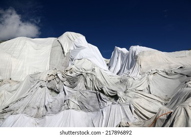 Rhone Glacier in Switzerland covered with fleece against melting