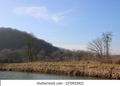 The Rhone to Rhine canal near the Doubs river in Aveney, Franche-Comté, France
