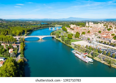Rhone river aerial panoramic view in Avignon. Avignon is a city on the Rhone river in southern France.