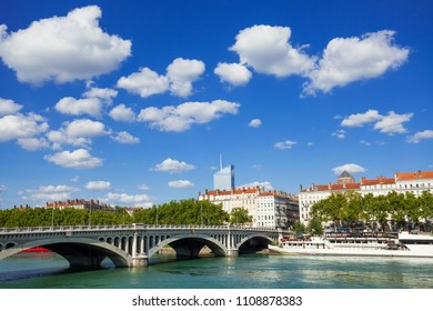 Rhone river embankment and Wilson Bridge, Lyon