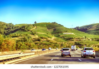 Rhone Valley, France - August 12 2018: The vineyard of Domaine Jean Michel Gerin Cote Rotie, viewed in early morning from the A7 Autoroute