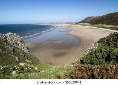Rhossili Bay. Walk from Rhossili Bay to Port Eynon, Gower Peninsula (Wales Coast Path)