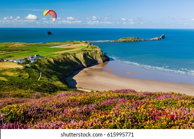 Rhossili Bay, Worms Head, Gower, Peninsula, Wales, UK