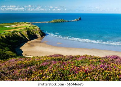 Rhossili Bay, Worms Head Gower, Peninsula, Wales, UK