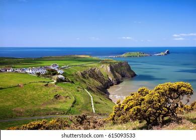 Rhossili Bay, Worms Head,Gower, Peninsula, Wales, UK