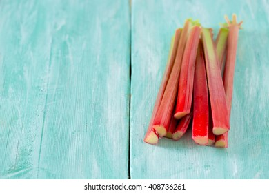 rhubarb on wooden surface