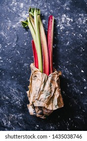 Rhubarb plant on a gray background