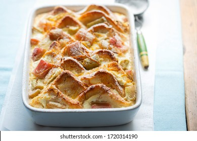 Rhubarb & ricotta bread & butter pudding with icing sugar