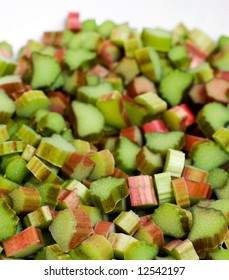 Rhubarb slices in the bowl