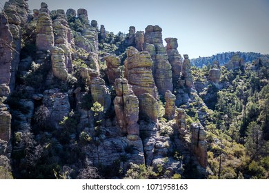 Rhyolite Canyon from the Hailstone hiking trail among hoodoos and rock pillars at Chiricahua National Monument near Wilcox Arizona.