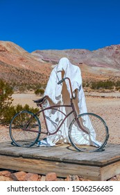 Rhyolite Ghost Town. Nevada. USA - February 21, 2018 - Figure of Ghost Rider in the Goldwell Open Air Museum