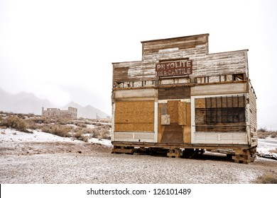 Rhyolite Mercantile and School in Rhyolite, the best preserved ghost town in Nevada and Death Valley area.