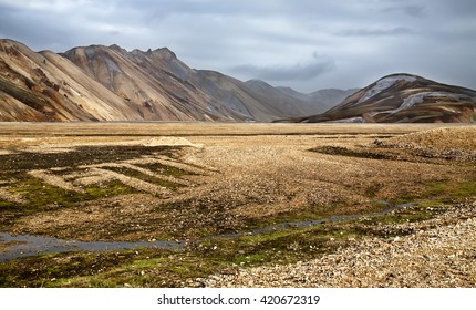 The rhyolite mountains of Landmannalaugar in Fjallabak national park, Iceland
