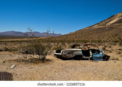 Rhyolite, Nevada - August 10, 2016: An abandoned car in Rhyolite ghost town near Beatty Nevada