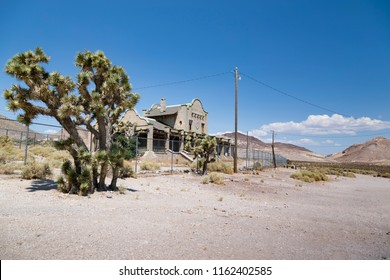 Rhyolite, Nevada, USA - 1st September 2017: Derelict buildings at the host town of Rhyolite in Nevada