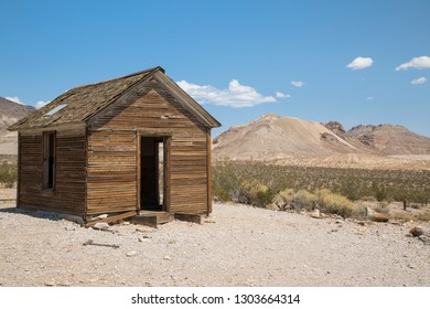 Rhyolite, Nevada, USA: September 1st 2017 - Old wooden building at the ghost town of Rhyolite in Nevada