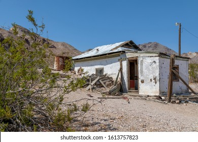 Rhyolite, Nevada, USA: September 1st 2017 - Old building in the ghost town of Rhyolite, Nevada.