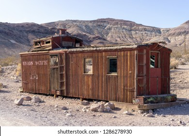 Rhyolite, NV, USA - NOV 16, 2018 - Old abandoned structure of Union Pacific at Ghost town Rhyolite near Beatty at Hwy 374